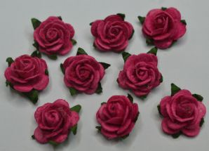 1.5cm FUSCHIA PINK Mulberry Paper Roses (only flower head)
